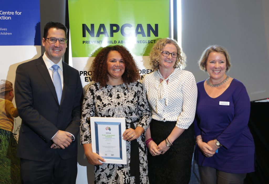 (L-R: Senator the Hon Zed Seselja, Sarah Decrea, NAPCAN Deputy CEO Leesa Waters, Prof Elizabeth Handsley, Know Before You Load App (Australian Council on Children and the Media) – also a SA winner!)